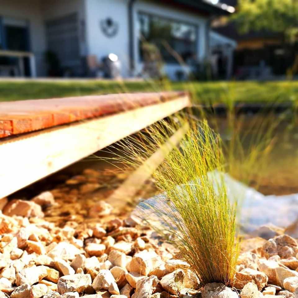Gartengestaltung Nußloch: Verlegung Rollrasen, Teich angelegt, Pflanzungen